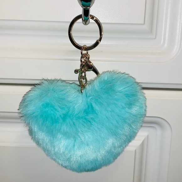 Accessories - Teal Fluffy Heart Keychain